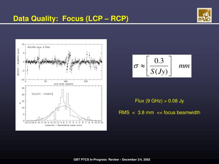 Data Quality:  Focus (LCP – RCP)