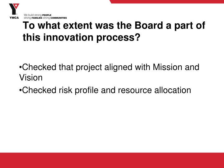 To what extent was the Board a part of this innovation process?