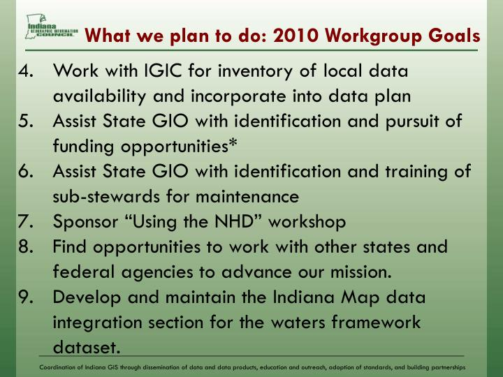 What we plan to do: 2010 Workgroup Goals