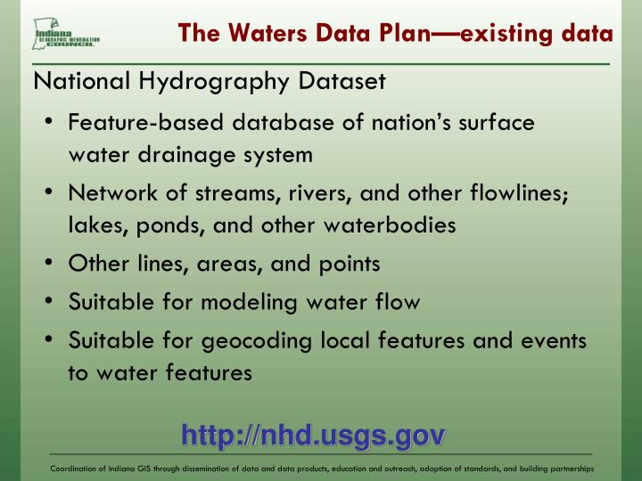 The Waters Data Plan—existing data