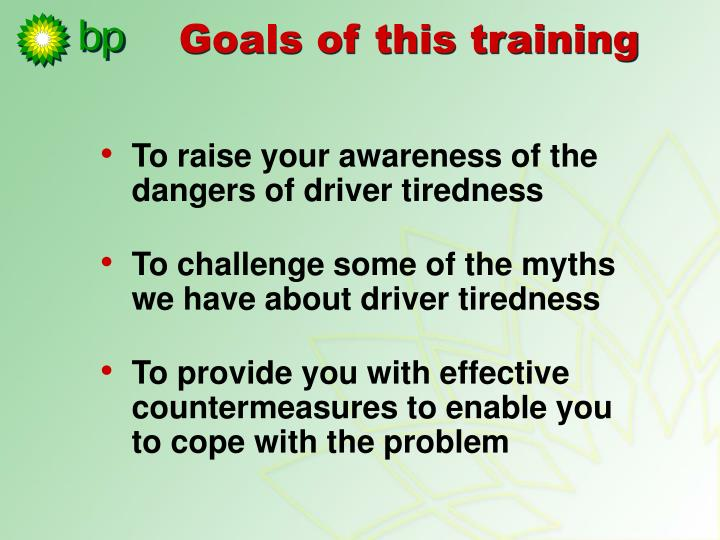 Goals of this training