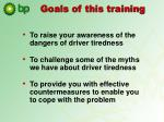 goals of this training