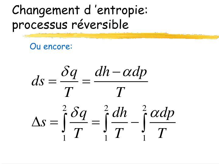 Changement d'entropie: processus réversible