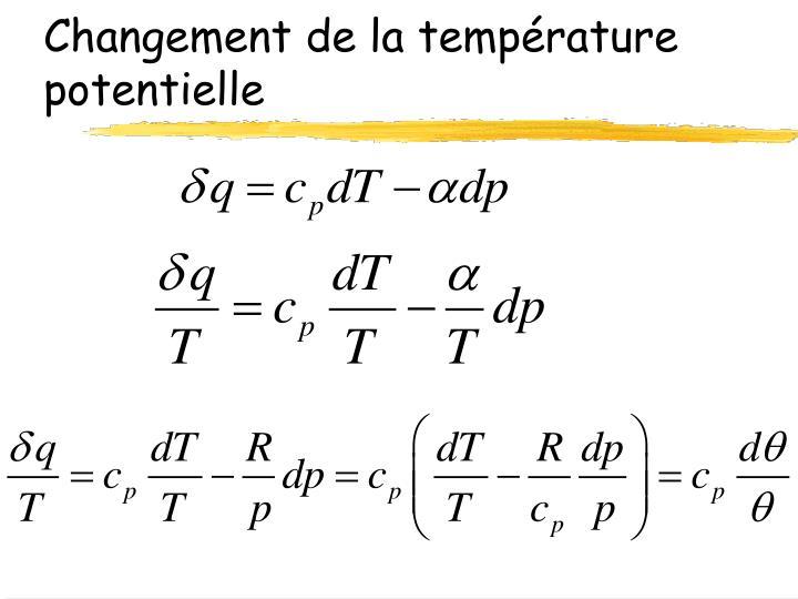 Changement de la température potentielle