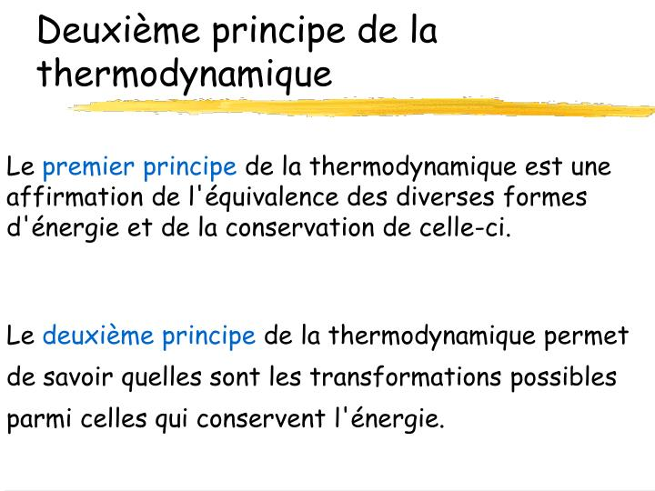 Deuxième principe de la thermodynamique