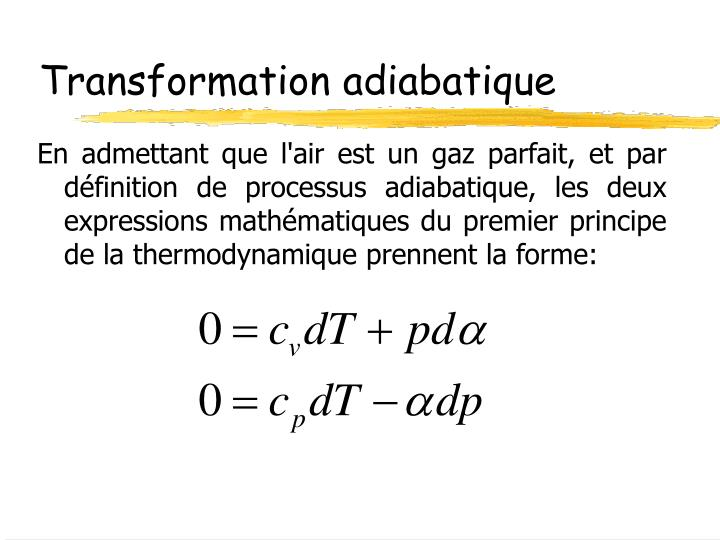 Transformation adiabatique
