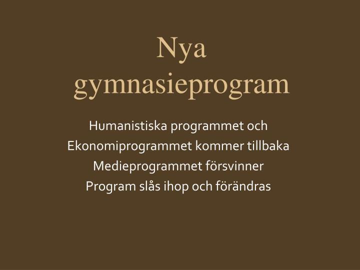 Nya gymnasieprogram