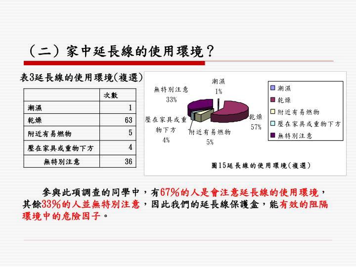(二)家中延長線的使用環境?