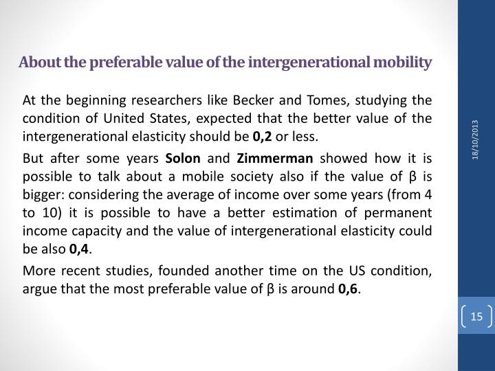 About the preferable value of the intergenerational mobility