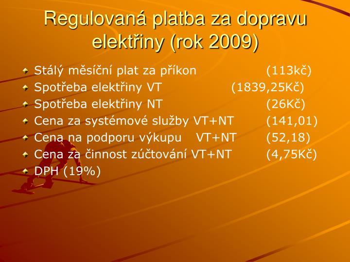 Regulovaná platba za dopravu elektřiny (rok 2009)