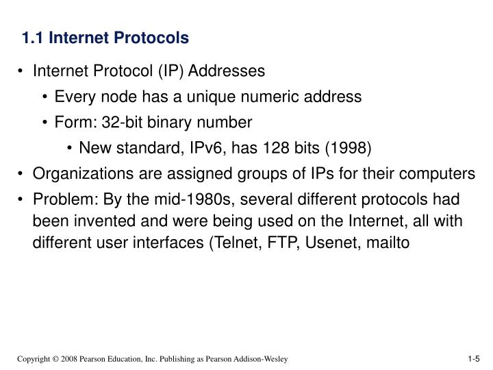 1.1 Internet Protocols