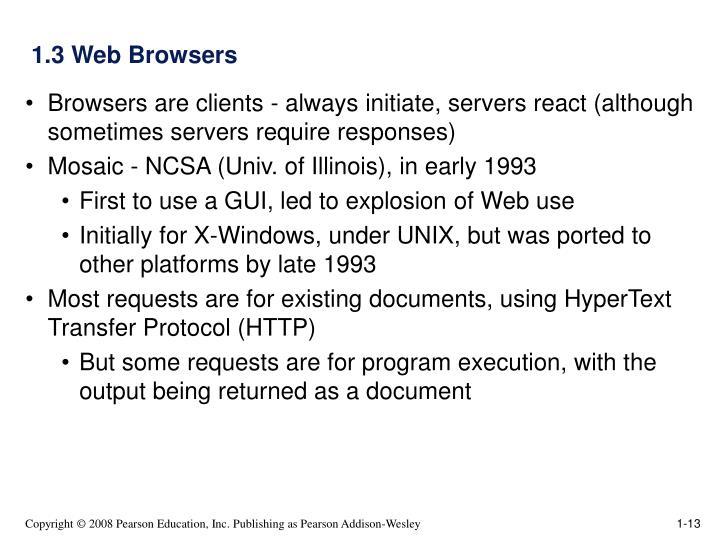1.3 Web Browsers