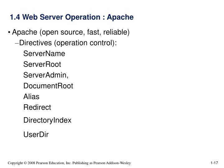 1.4 Web Server Operation : Apache