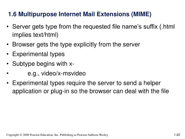 1.6 Multipurpose Internet Mail Extensions (MIME)
