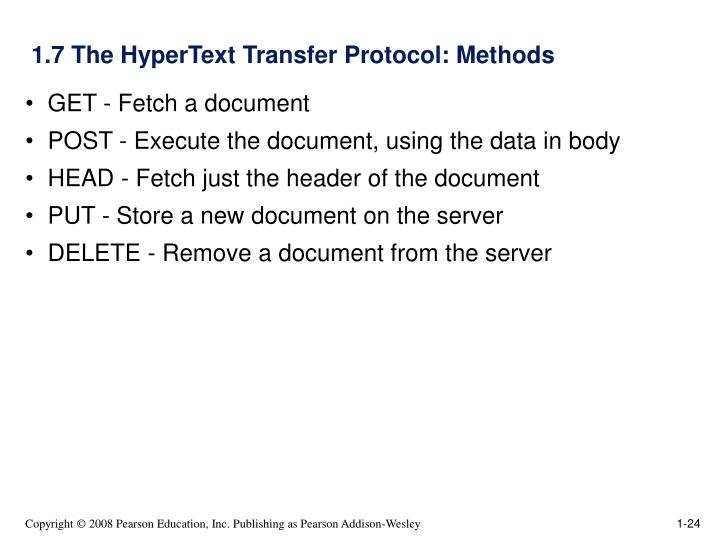1.7 The HyperText Transfer Protocol: Methods