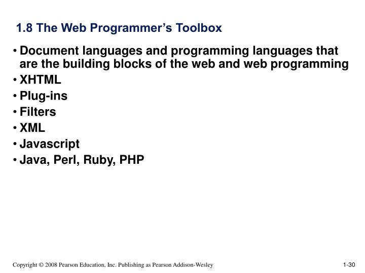 1.8 The Web Programmer's Toolbox
