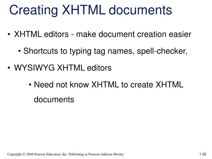 Creating XHTML documents