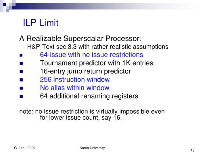 ILP Limit