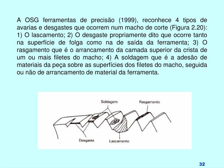 A OSG ferramentas de precisão (1999), reconhece 4 tipos de avarias e desgastes que ocorrem num macho de corte (Figura 2.20): 1) O lascamento; 2) O desgaste propriamente dito que ocorre tanto na superfície de folga como na de saída da ferramenta; 3) O rasgamento que é o arrancamento da camada superior da crista de um ou mais filetes do macho; 4) A soldagem que é a adesão de materiais da peça sobre as superfícies dos filetes do macho, seguida ou não de arrancamento de material da ferramenta.
