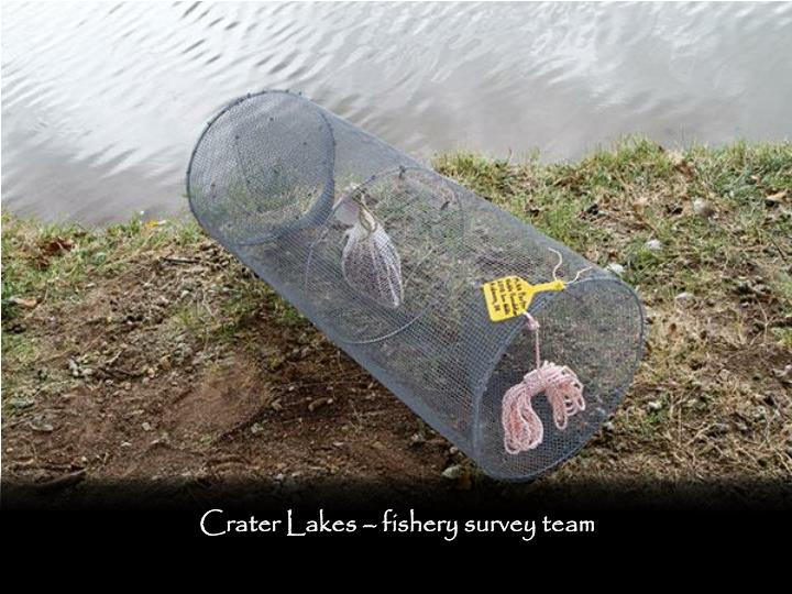 Crater Lakes – fishery survey team