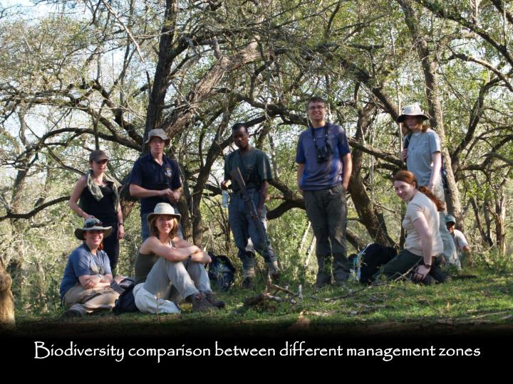 Biodiversity comparison between different management zones