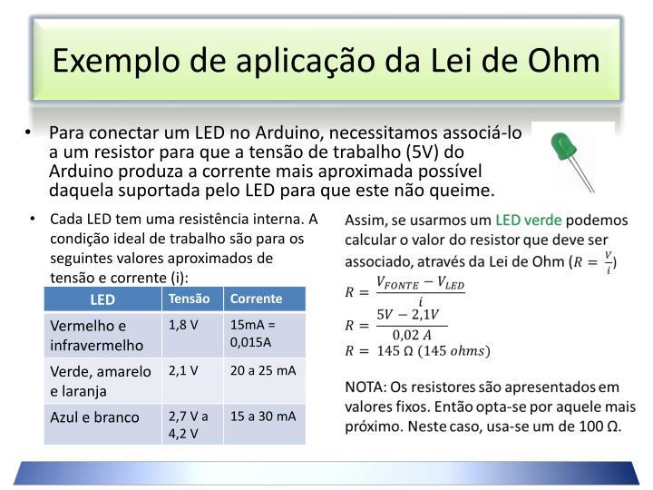 Exemplo de aplicação da Lei de Ohm