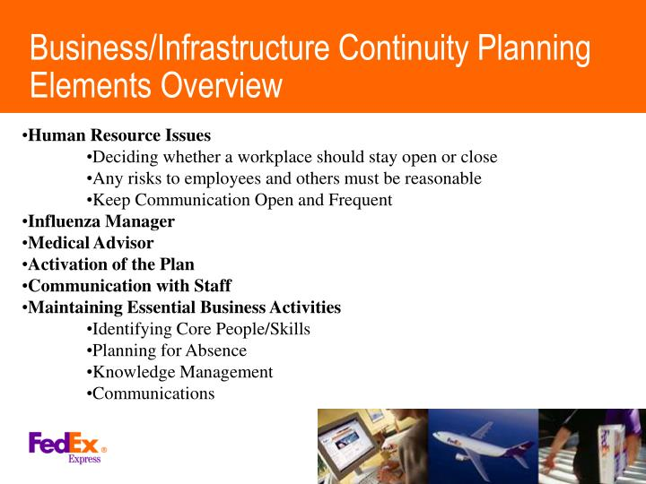 Business/Infrastructure Continuity Planning Elements Overview