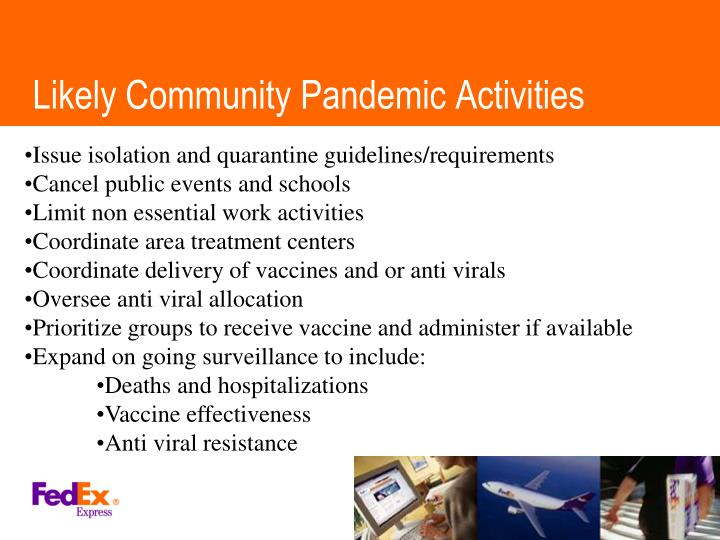 Likely Community Pandemic Activities