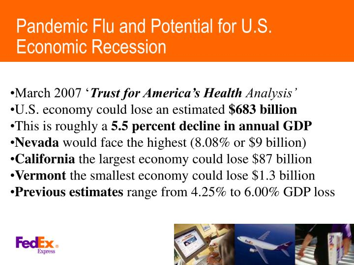 Pandemic Flu and Potential for U.S. Economic Recession