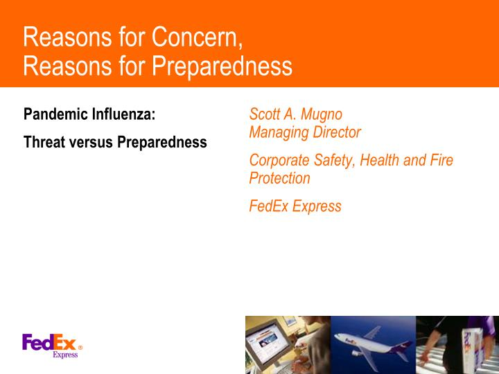 Reasons for concern reasons for preparedness