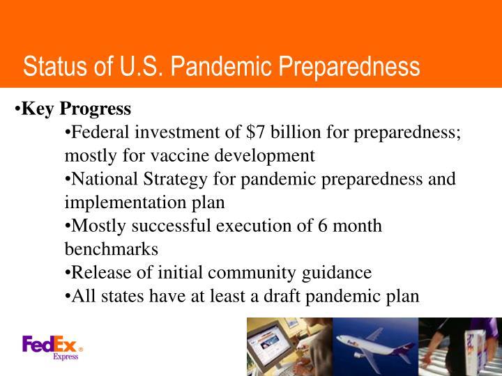 Status of U.S. Pandemic Preparedness