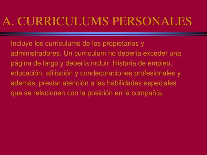 A. CURRICULUMS PERSONALES