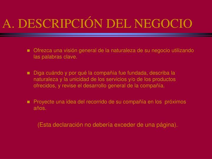 A. DESCRIPCIÓN DEL NEGOCIO