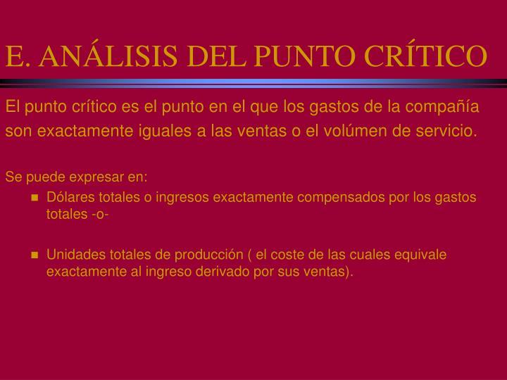 E. ANÁLISIS DEL PUNTO CRÍTICO