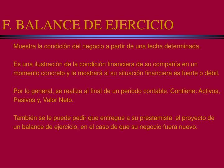 F. BALANCE DE EJERCICIO