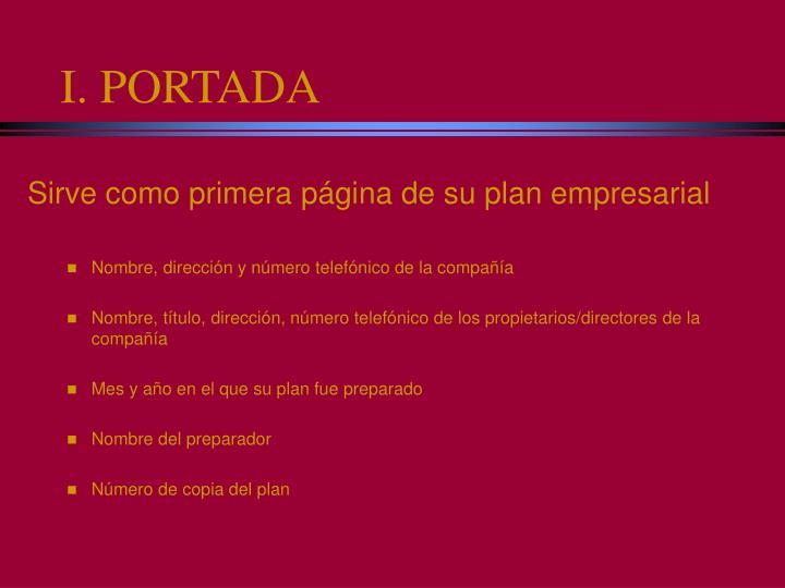 I. PORTADA