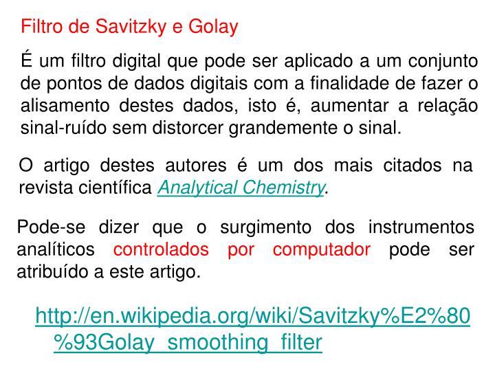 Filtro de Savitzky e Golay