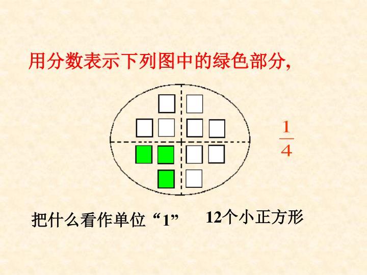 用分数表示下列图中的绿色部分