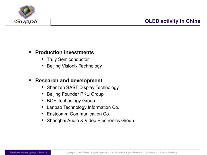 OLED activity in China