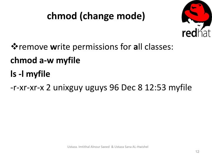 chmod (change mode)