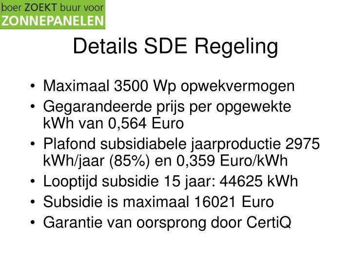 Details SDE Regeling