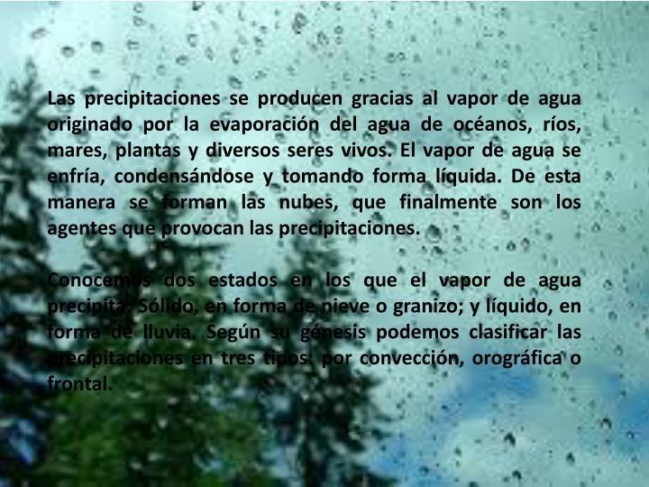 Las precipitaciones se producen gracias al vapor de agua originado por la evaporación del agua de océanos, ríos, mares, plantas y diversos seres vivos. El vapor de agua se enfría, condensándose y tomando forma líquida. De esta manera se forman las nubes, que finalmente son los agentes que provocan las precipitaciones.