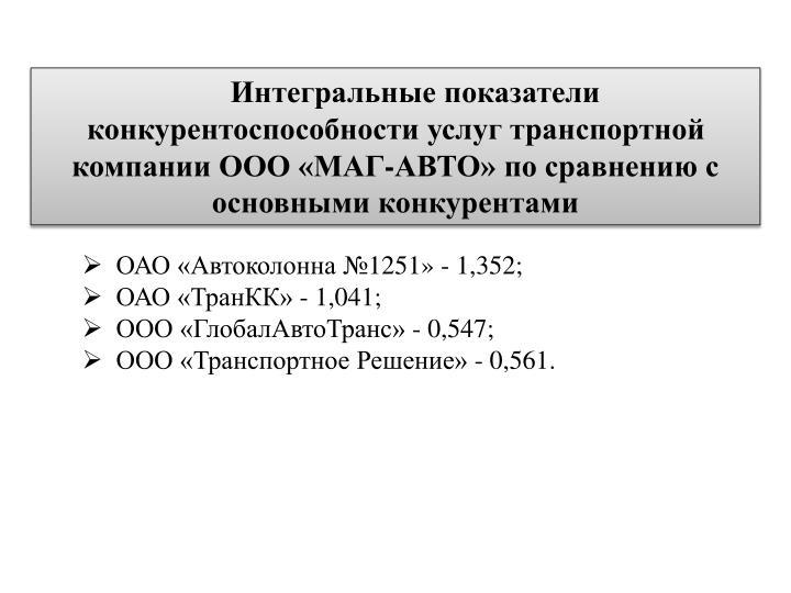 Интегральные показатели конкурентоспособности услуг транспортной компании ООО «МАГ-АВТО
