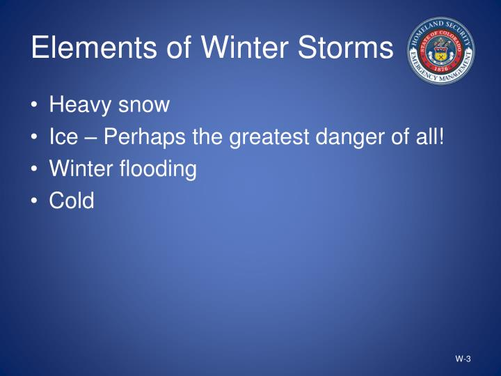 Elements of Winter Storms