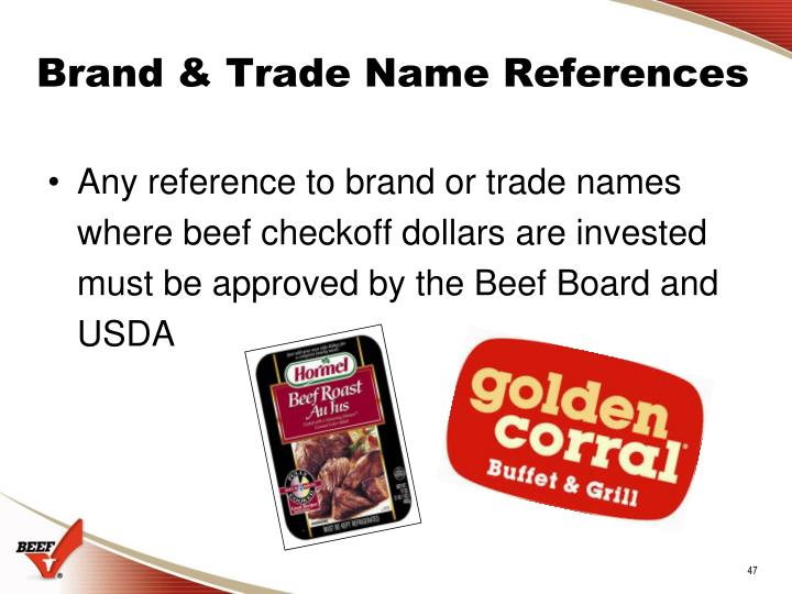 Brand & Trade Name References