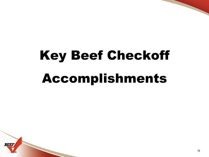 Key Beef Checkoff Accomplishments