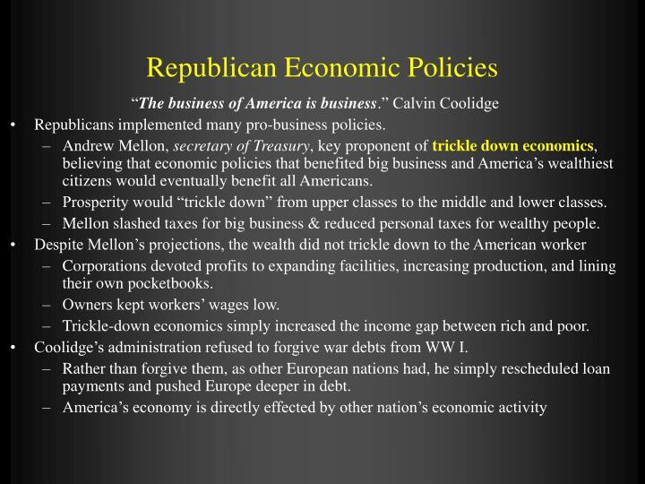 Republican Economic Policies