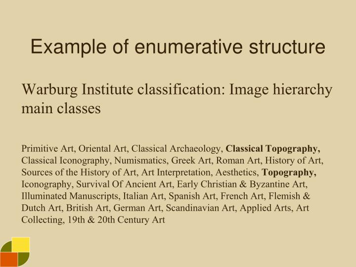Example of enumerative structure