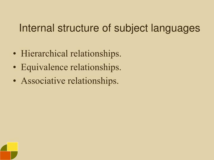 Internal structure of subject languages