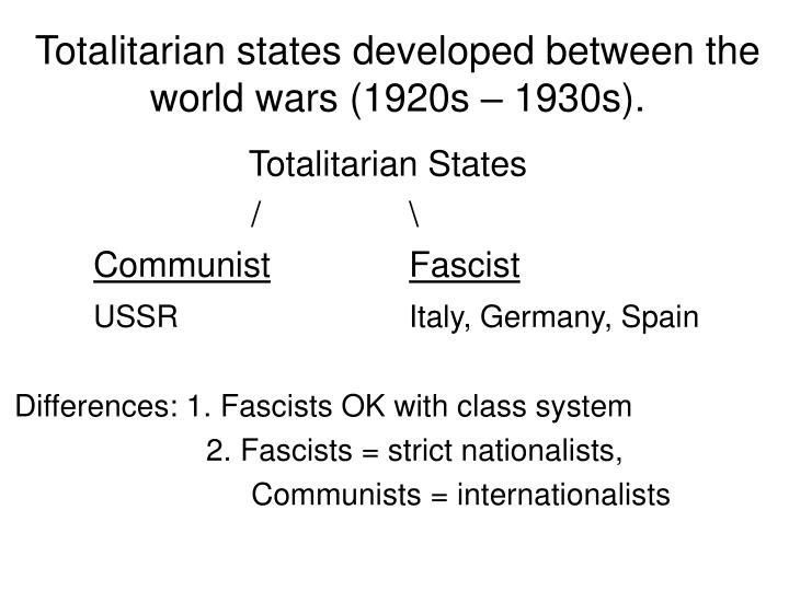 Totalitarian states developed between the world wars (1920s – 1930s).